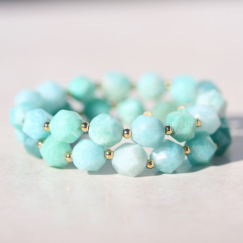 Faceted Amazonite and gold bracelet