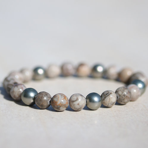 Natural Maifanite stone bracelet with 5 shell pearls