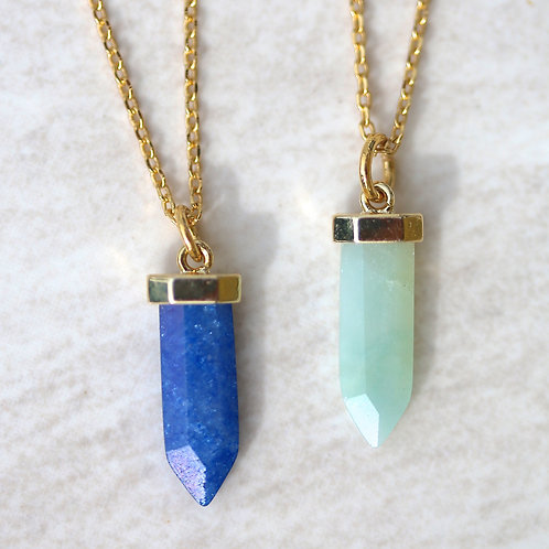 Gemstone arrow pendant necklace