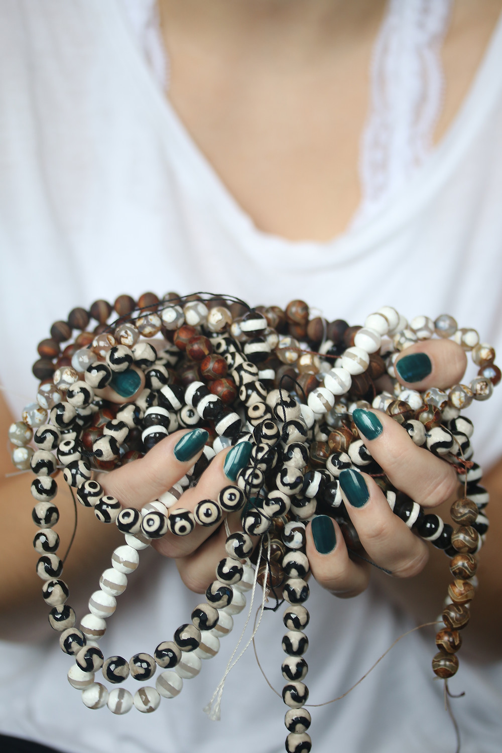 Finally they arrived! Order was placed in September so this is how reliable the shipping from far East is! Beautiful rustic stone beads in nature tones and tribal patterns.