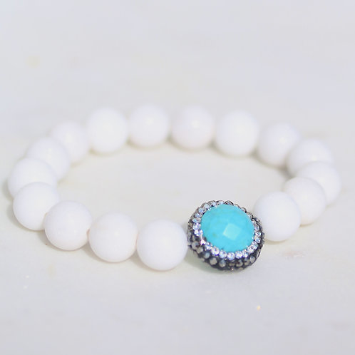 White Jade stones and crystal bracelet