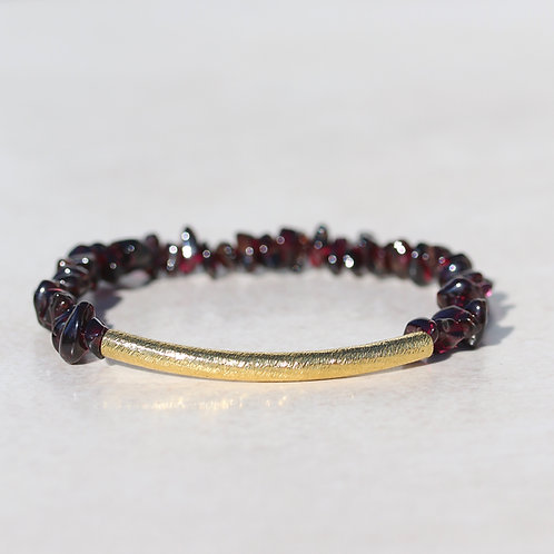 Ruby red Garnet and brass bracelet