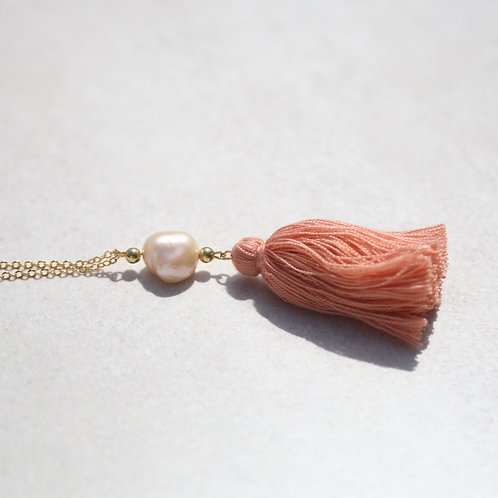 Long boho necklace with real pearl and tassel