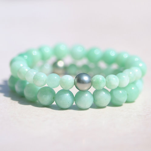 Green Jade stone and pearl bracelet