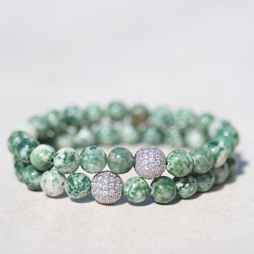 Green spotted Jasper gemstone bracelet