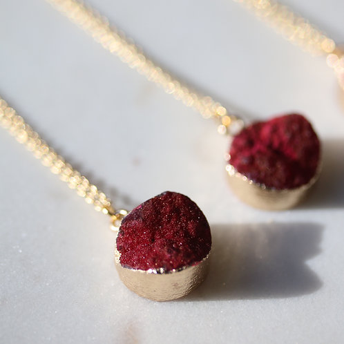 Rustic red druzy necklace