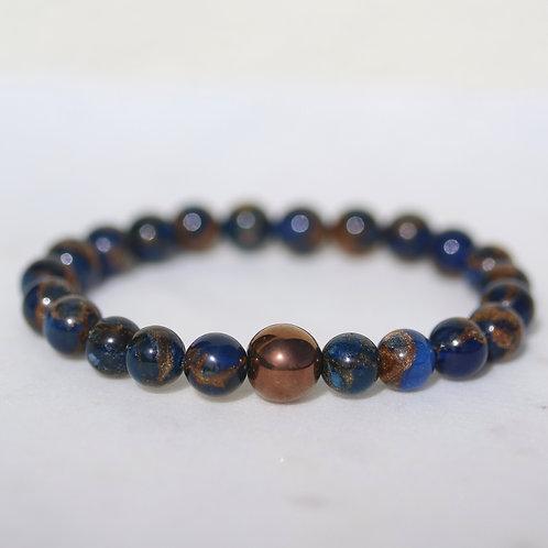 Natural Cloisonne and copper bracelet