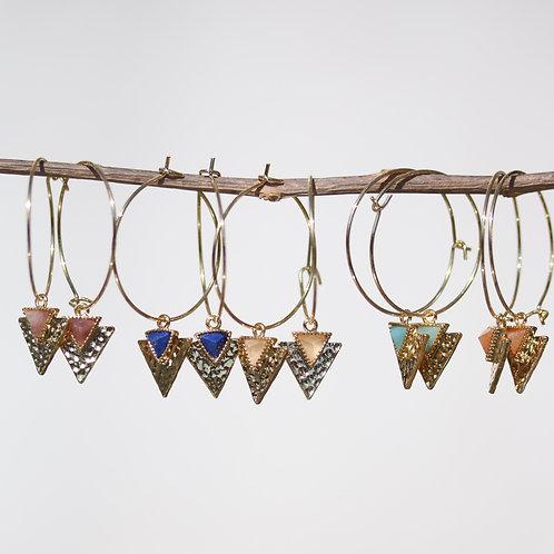 """""""Ingrid"""" earrings with gold hoop and gemstones"""