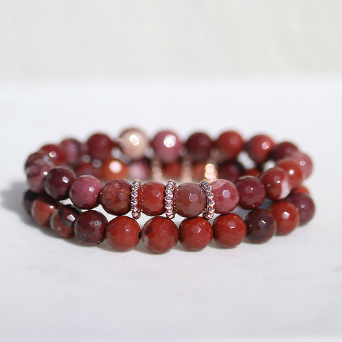 Faceted Mookite stone bracelet