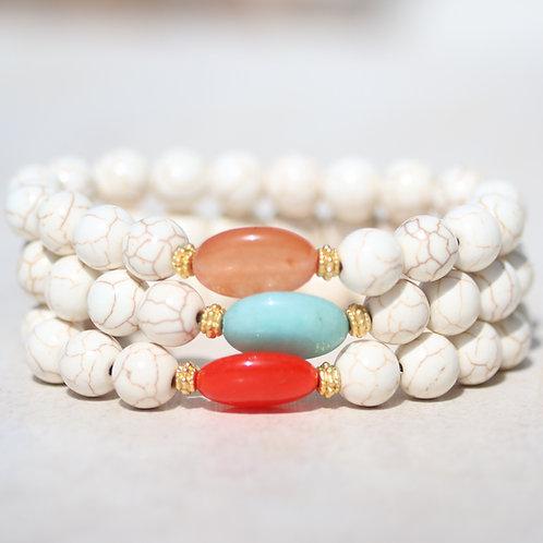 Ivory Howlite and Jade stone bracelet