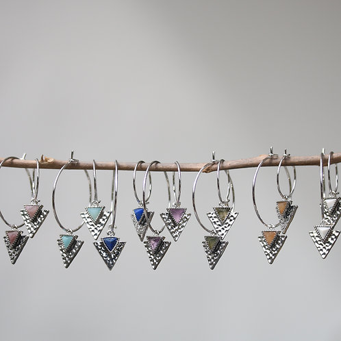 """""""Ingrid"""" earrings with rhodium hoop and gemstones"""