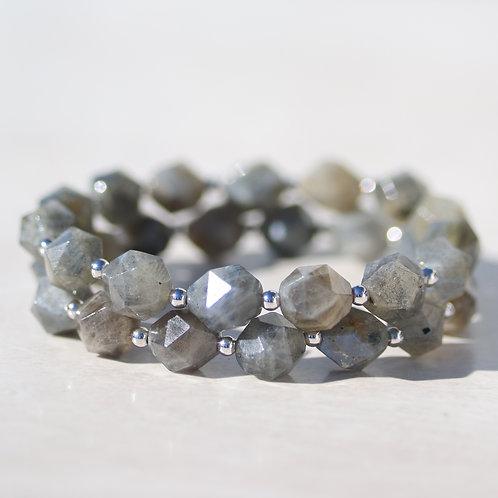 Faceted Labradorite and Rhodium bracelet