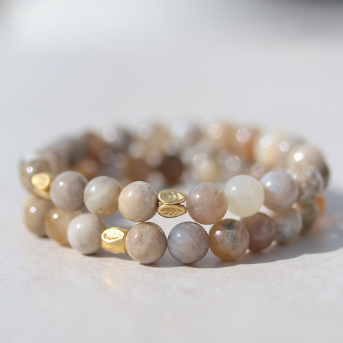 8mm Ocean Fossil Agate stone bracelet