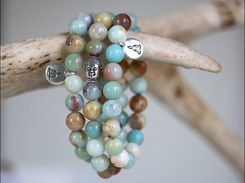 Amazonite bracelet with silver Lotus charm