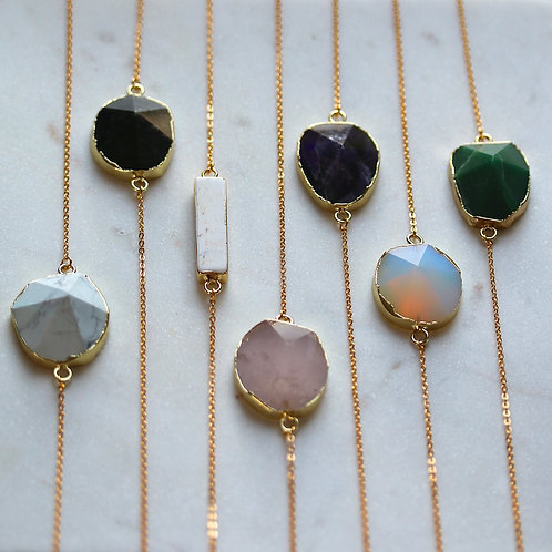 Free shaped large gemstone necklaces