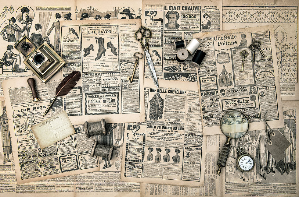 antique accessories, sewing and writing