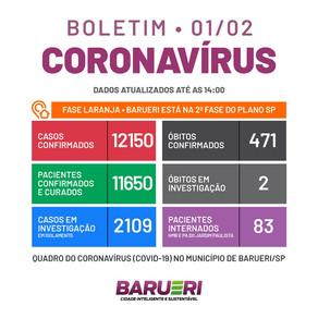 Coronavírus: boletim de 1 de fevereiro