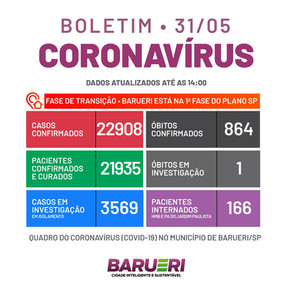 Coronavírus: boletim de 31 de maio