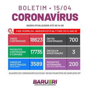 Coronavírus: boletim de 15 de abril