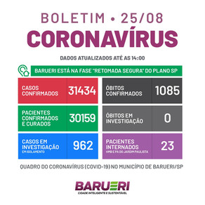 Coronavírus: boletim de 25 de agosto