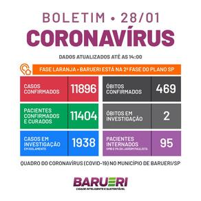 Coronavírus: boletim de 28 de janeiro