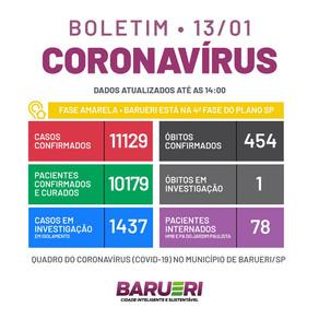 Coronavírus: boletim de 13 de janeiro