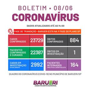 Coronavírus: boletim de 08 de junho