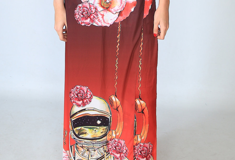 """Camellia calls, astronaut talks"" Pareo skirt"