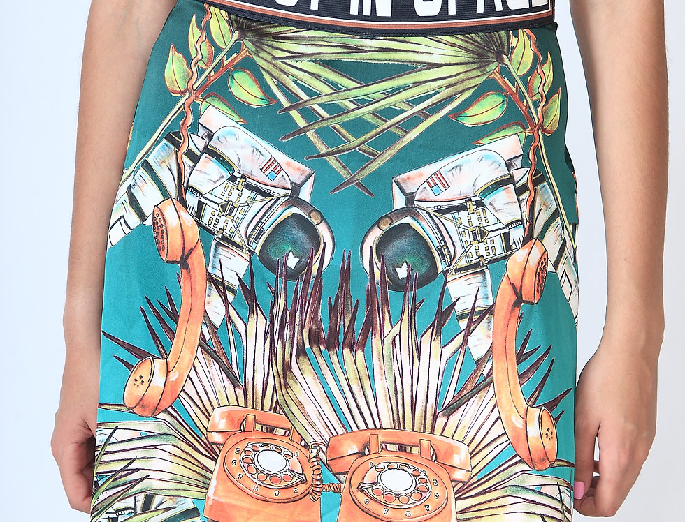 """""""Lost turquoise in space"""" High waisted short sateen skirt"""