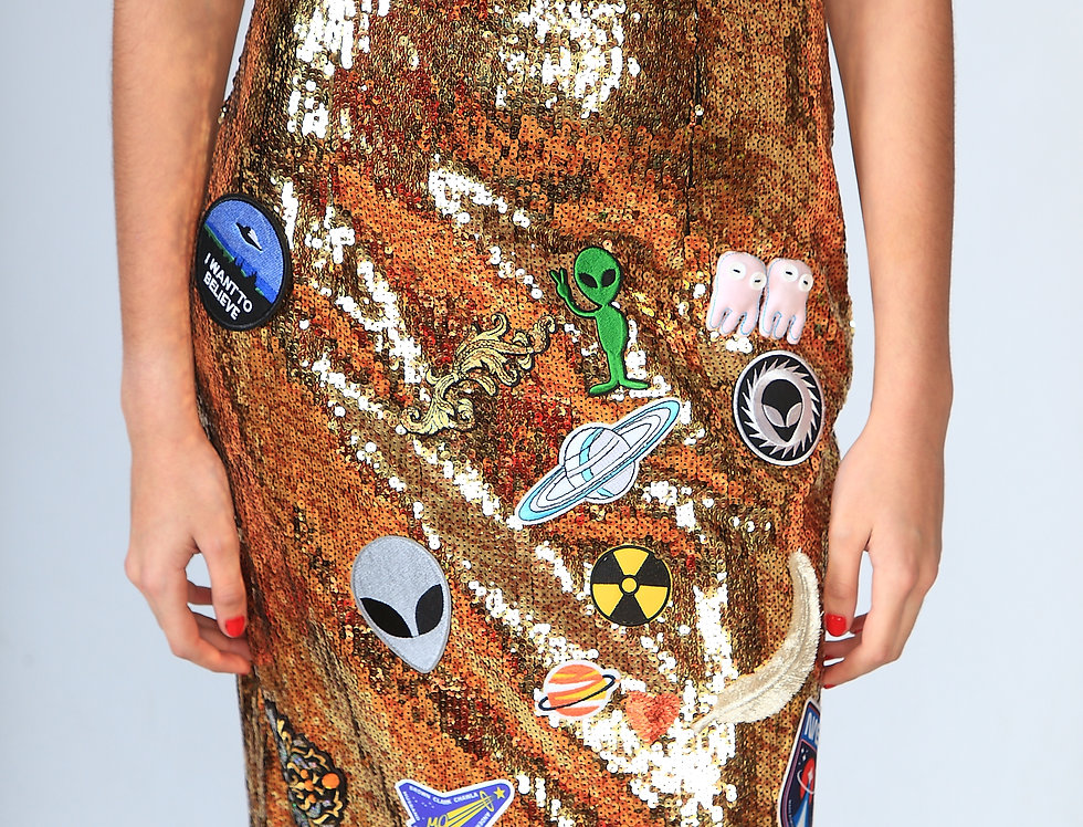 """All that patches"" sequin skirt"
