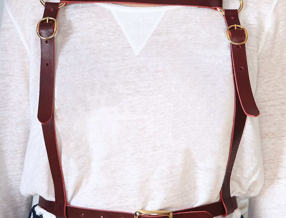 Astronaut cherry leather harness