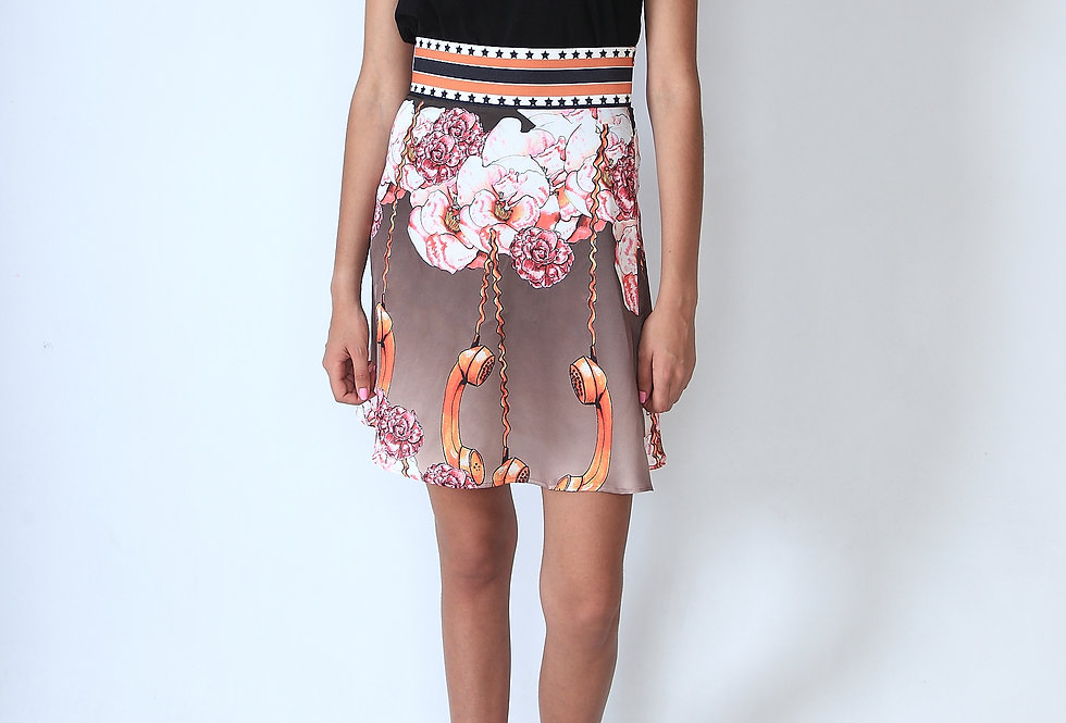 """Call me Camellia"" High waisted short sateen skirt"