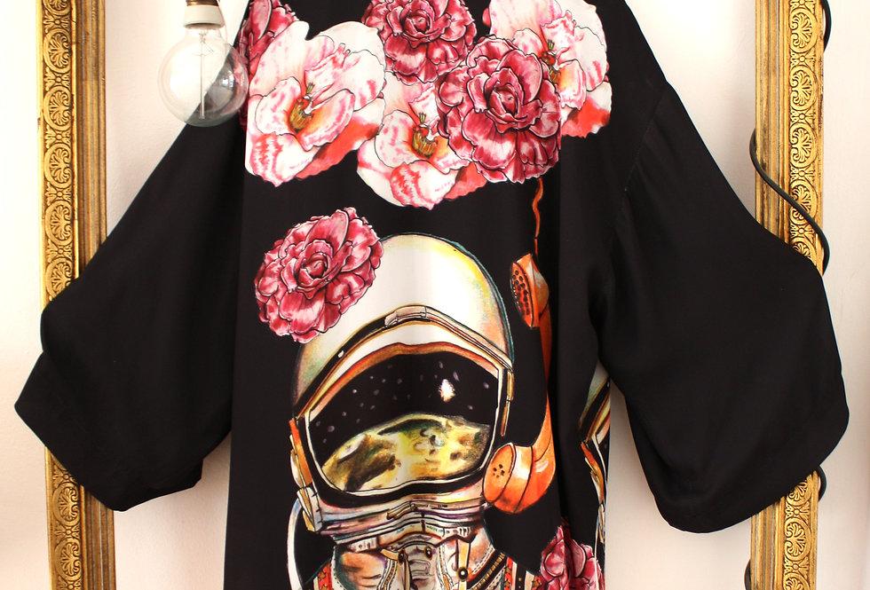 Salmon but galactic Kimono minidress