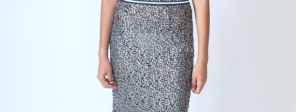 """The moon looks grey"" sequin skirt One Size/Medium"