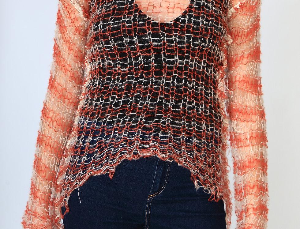 Cosmic orange & white stripes sweater