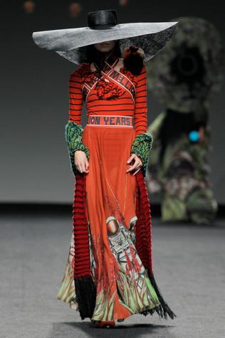 Madrid Fashion Week orange astronaut dress
