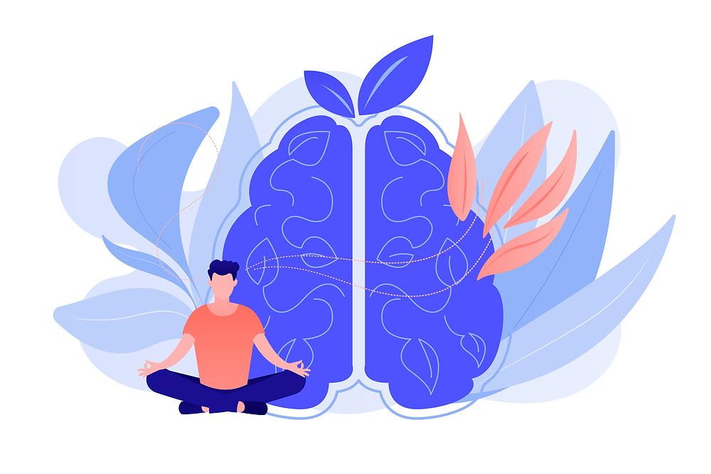 Man meditating in lotus pose in front of brain