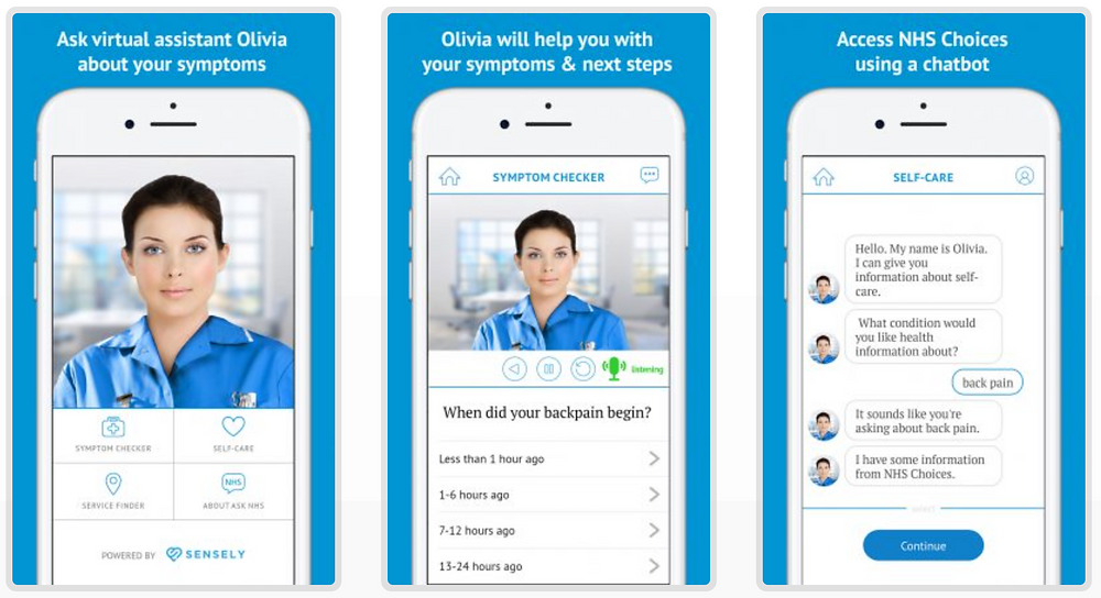 Image of Ask NHS app's virtual assistant process