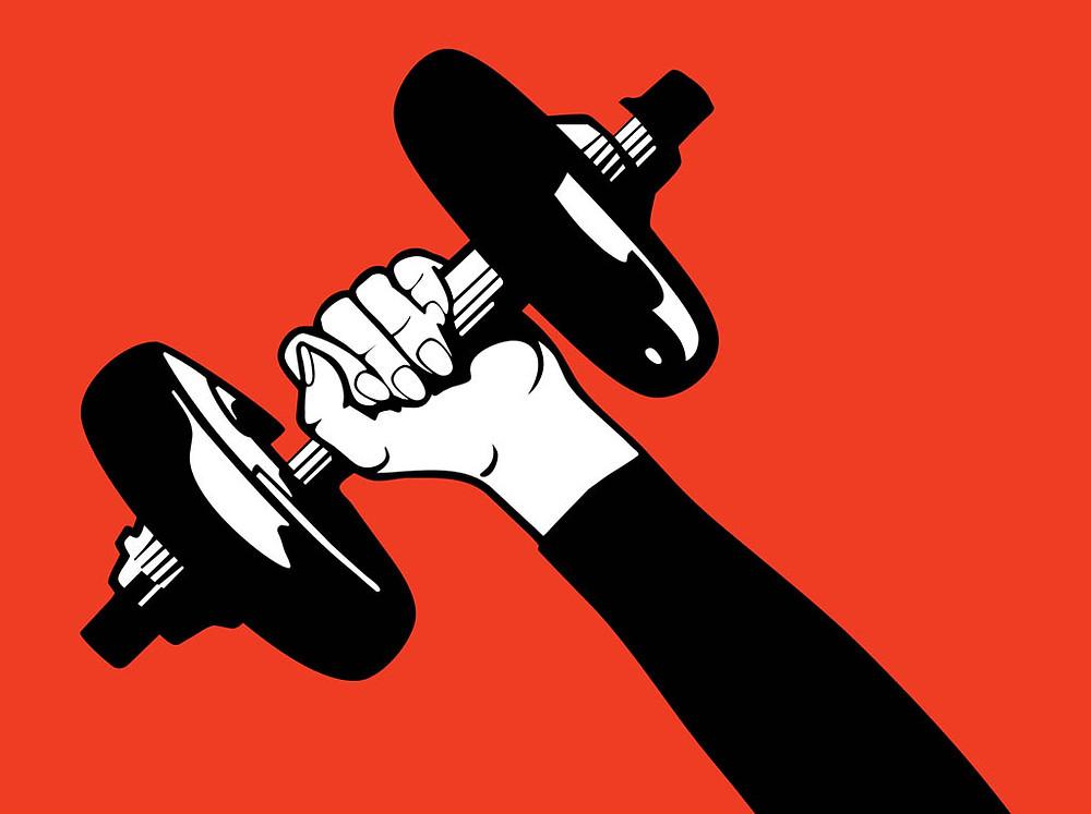 Vector of hand holding dumbbell