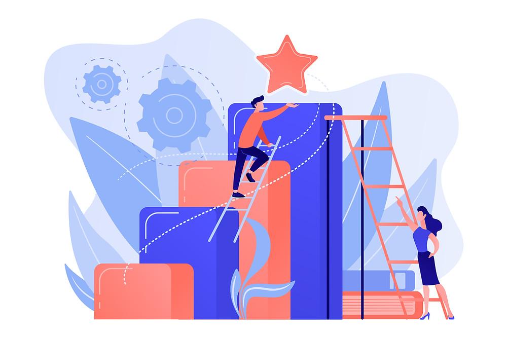 Man climbing ladder to success