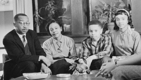 Mamie Phipps Clark and Kenneth Clark with their two children.