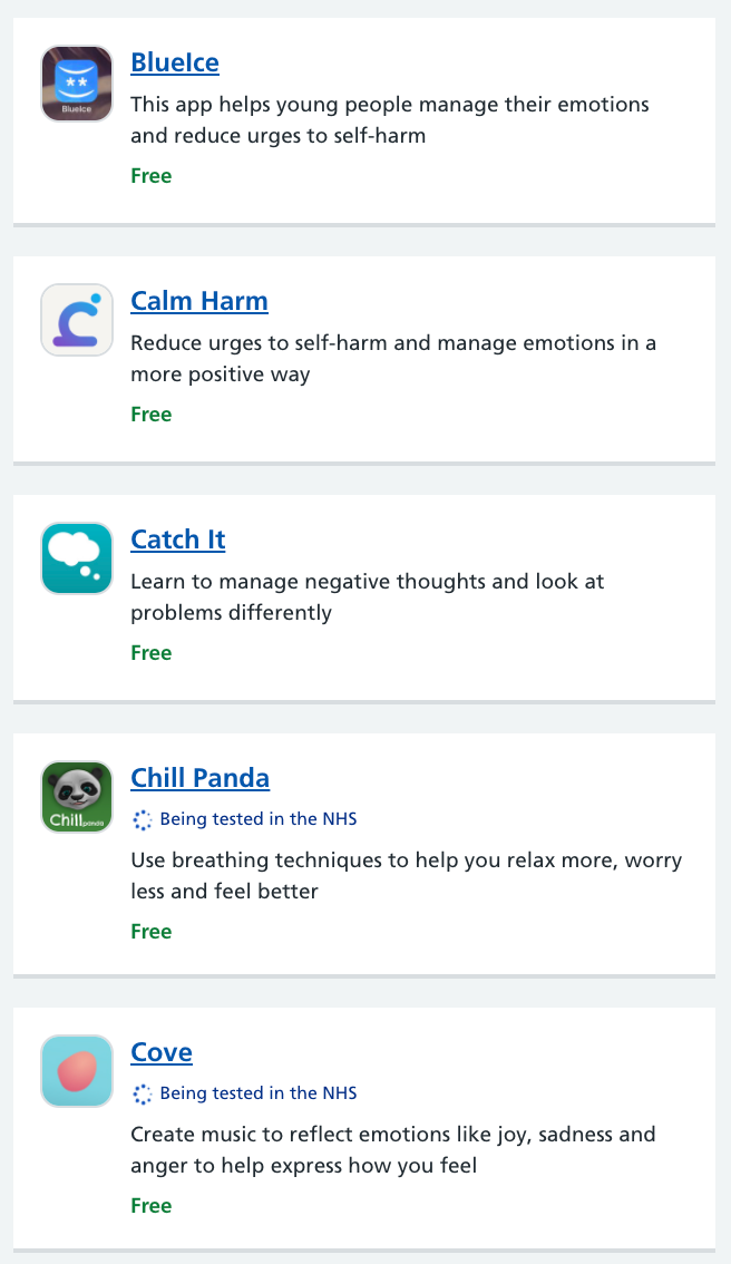 List of mental health apps available through the NHS Apps Library