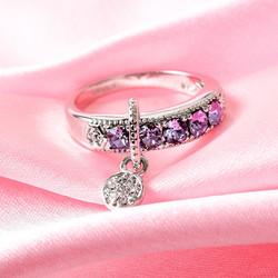 Violet Swarovski Buckle Ring
