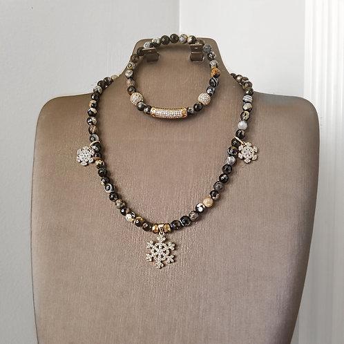 Agate Necklace & Bracelet Set