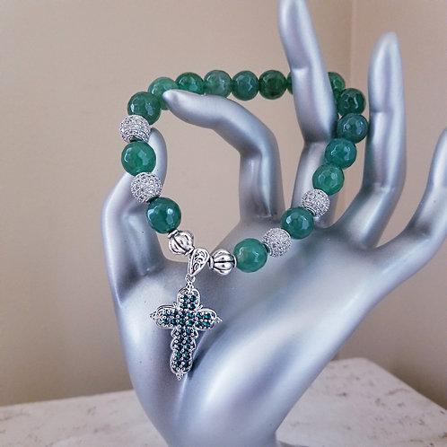 Agate w/ Crystal Swarovski Cross