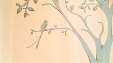 Tree with bird wall mural