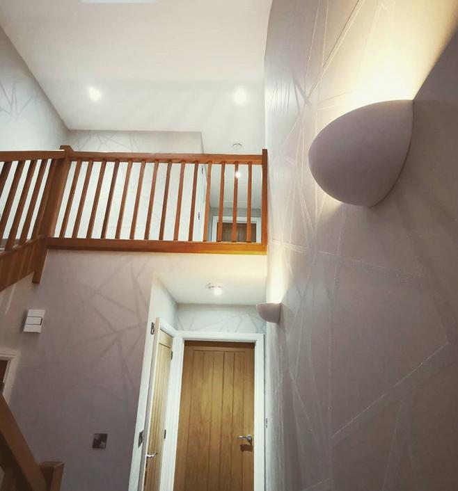 Stair wallpapering