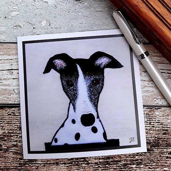 Black & White Whippet Greetings Card