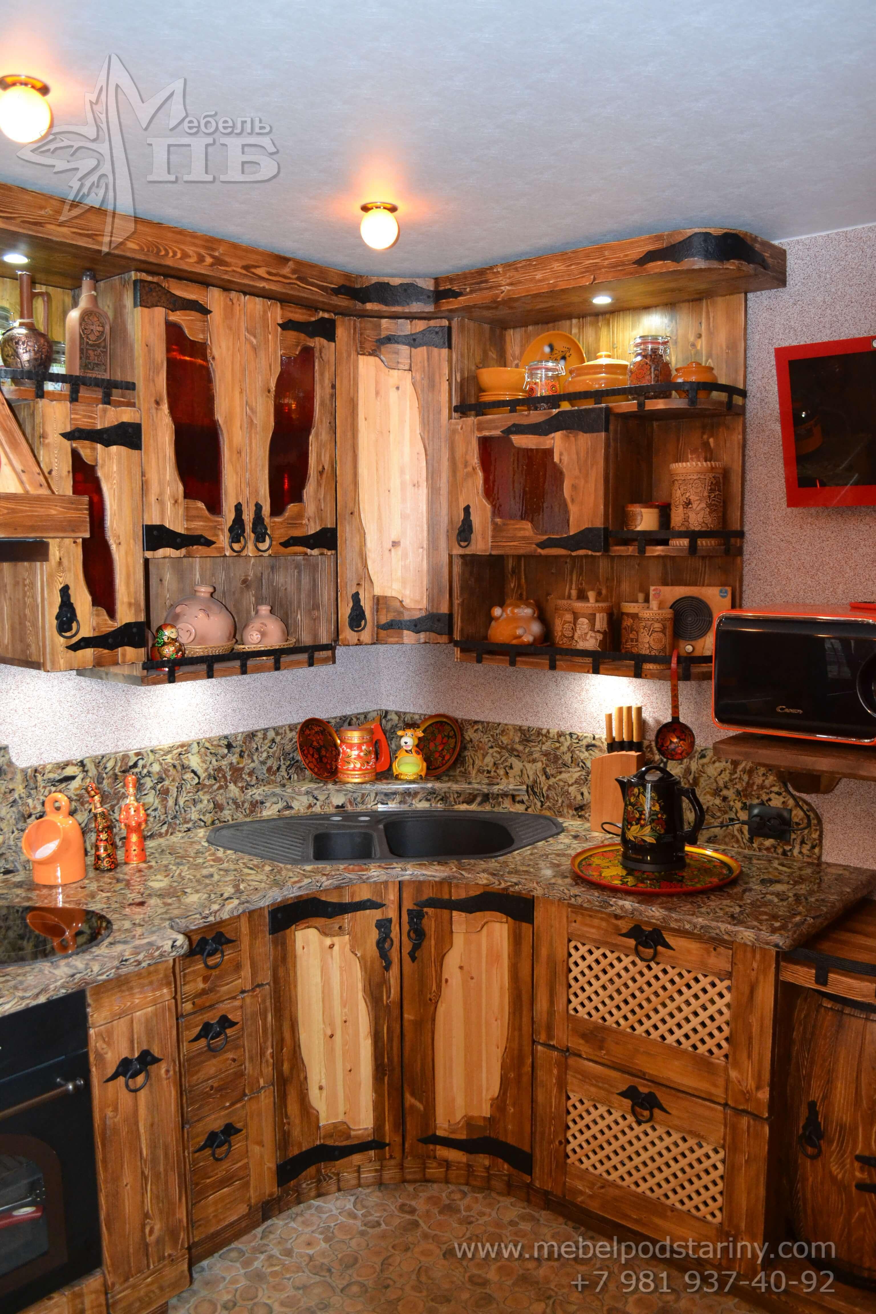 Кухня из состаренной сосны АНТОНИНА (2)