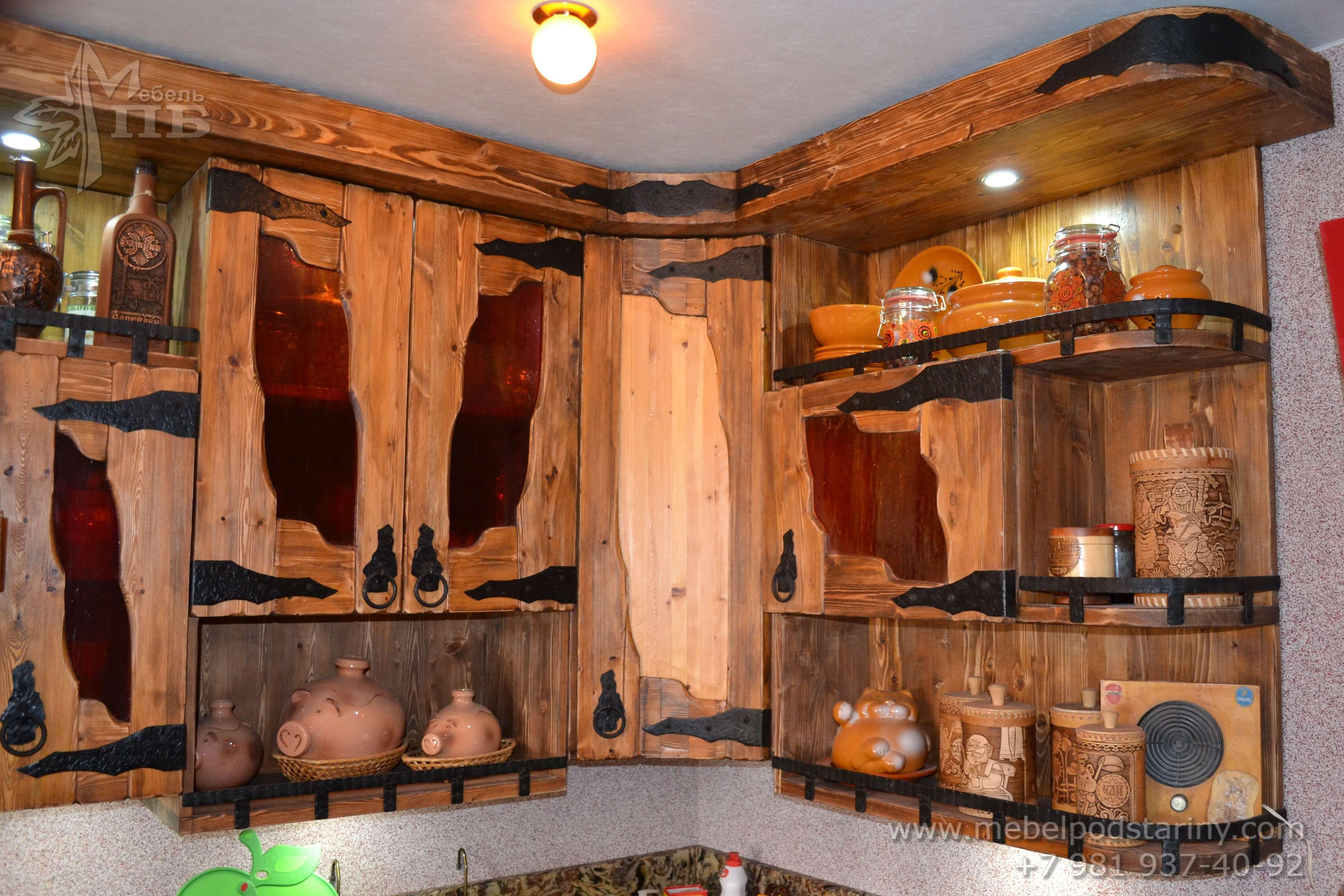 Кухня из состаренной сосны АНТОНИНА (7)